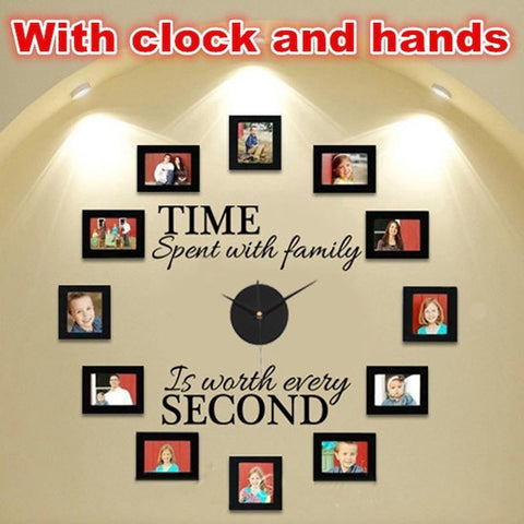 "DIY ""Time Spent With Family"" Wall Clock With Photo Frame Acrylic&Vinyl Material-Loluxe"