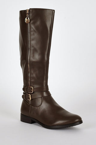 Double Buckle Detail Leatherette Calf Boots-Footwear > Boots-Loluxe