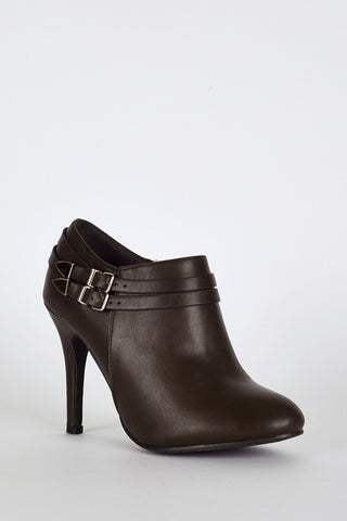 Double Strap High Heel Ankle Boots In Brown-Footwear > High Heels-Loluxe