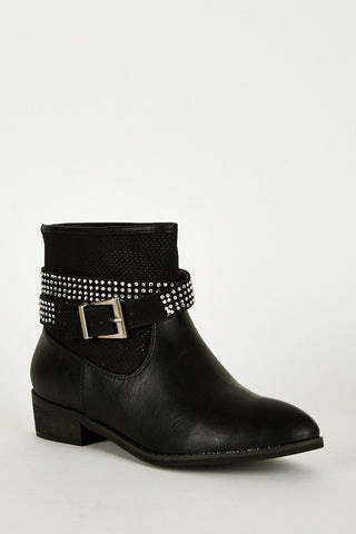 Double Strap With Diamante Detail Ankle Boots-Footwear > Boots-Loluxe