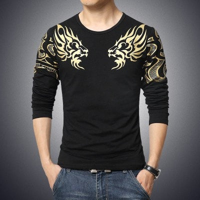 Dragon-Print Men's Fashion Long-Sleeve Quality Casual T-Shirt M-5XL 3 Colors-Loluxe