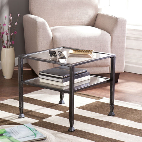 Durable Black Metal and Tempered Glass Coffee Table with Shelf-Living Room > Coffee Tables-Loluxe