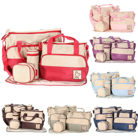 Durable Colorblock 5 PC Waterproof Diaper Tote Bag Set 7 Colors-Loluxe