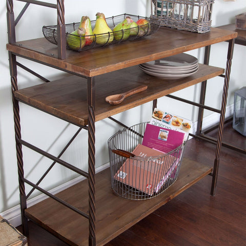 Durable Fir Wood and Metal Bakers Rack with Storage and Display Space-Kitchen > Bakers Racks-Loluxe