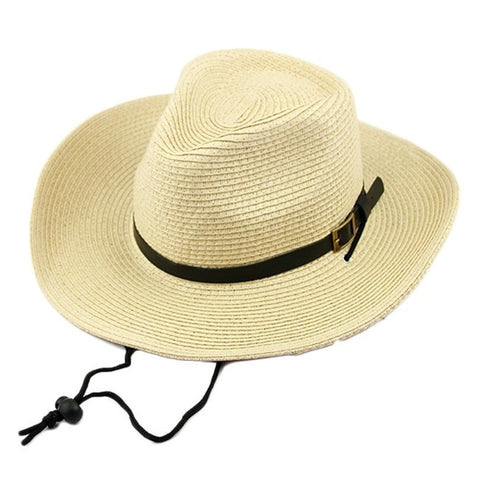 Durable Summer Women's Foldable Straw Buckle Western Beach Hat 3 Colors-Loluxe