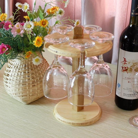 Eco-Friendly Bamboo Goblet Wine Glass Rack Holder-Loluxe