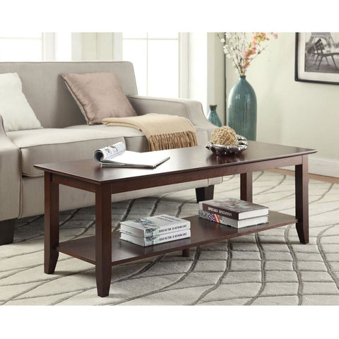 Eco-Friendly Espresso Wood Coffee Table with Bottom Shelf-Living Room > Coffee Tables-Loluxe