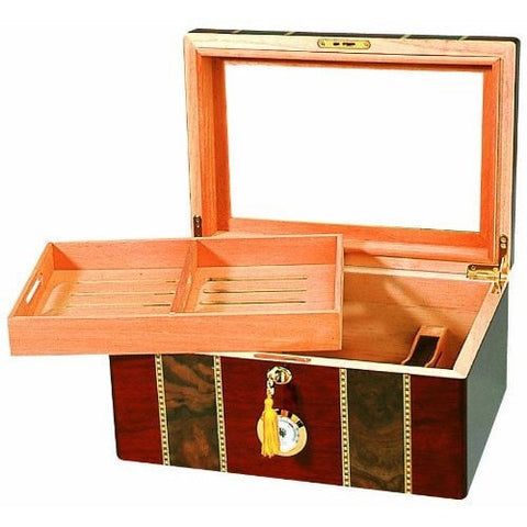 Elaborate 100 Cigar Tempered Beveled Glass Top Humidor in Cherry-Accents-Loluxe