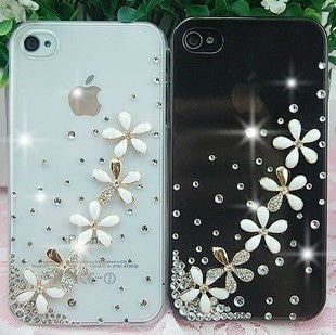 Elegant 3D Pure & Fresh Floral Crystal Diamond Cellphone Case Cover for iPhone 5G-Loluxe