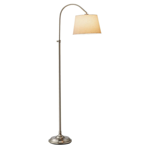 Elegant Arch Floor Lamp with White Linen Tapered Drum Shade-Lighting > Floor Lamps-Loluxe
