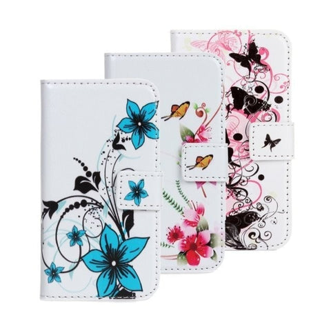 Elegant Butterfly Floral Print Slim Flip Wallet w/Stand Function & Card Slot Leather Cellphone Case for iPhone 4 4S - 4 Colors-Loluxe