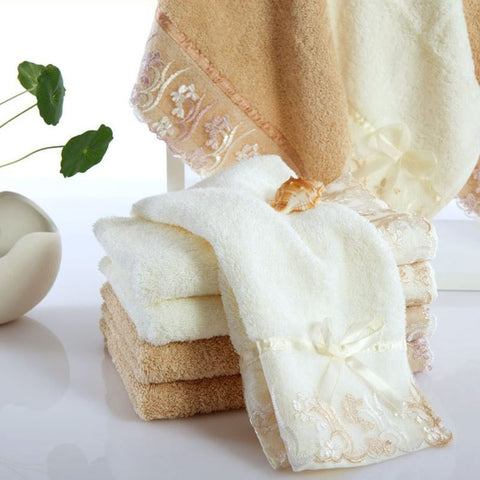 Elegant Cotton Lace Trim 2-PC Quick-Dry Hand Towels 2 Colors-Loluxe