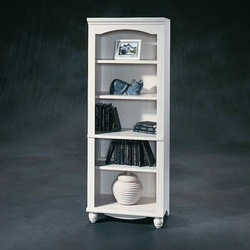 Elegant Display Shelf Bookcase with 5 Shelves in Antique White Wood Finish-Living Room > Bookcases-Loluxe