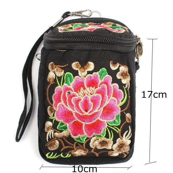 Elegant Embroidered Canvas Mobile Phone/Dual Camera Bag-coin purse wallet clutch-Loluxe