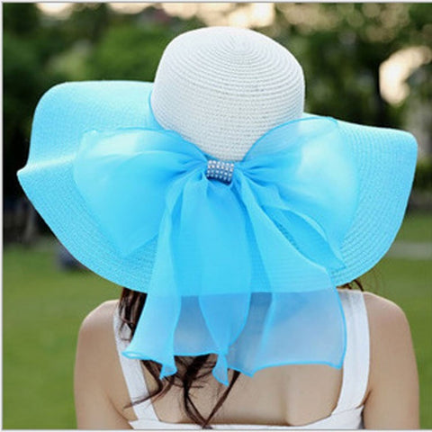 Elegant Foldable Floppy Bowknot Jewel-Accent Summer Hat 7 Colors-Loluxe