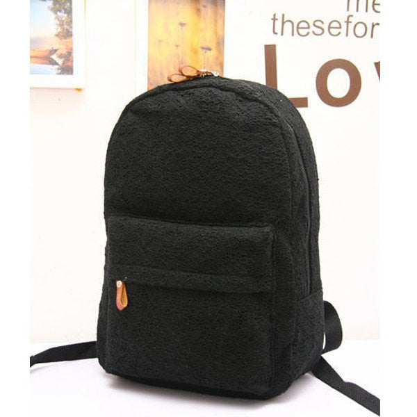 Elegant Lace Trim High-Quality Canvas Student Backpack-backpack bookbag-Loluxe