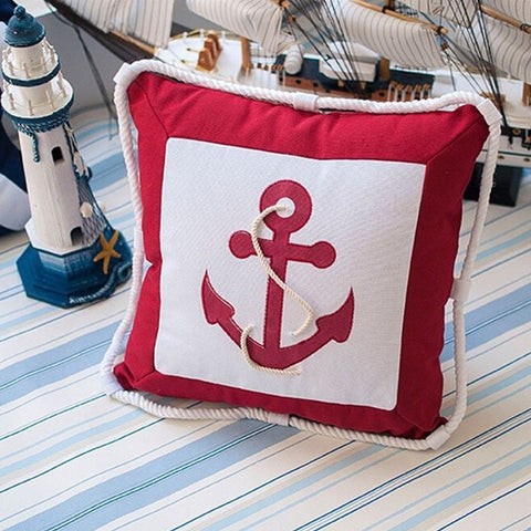 Elegant Nautical Design Print Canvas Pillow Case & Cushion 45x45cm 4 Design Options Blue or Red-Loluxe