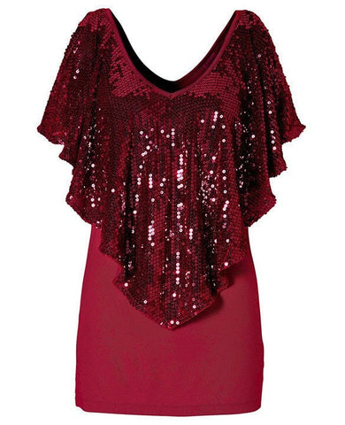 Elegant Sequined Women's Party Top M-XL 3 Colors-Loluxe