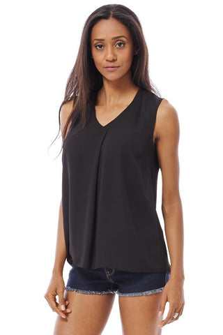 Elegant Versatile Work-To-Play Black Chiffon Sleeveless Top 10-16-Clothing > Tops-Loluxe