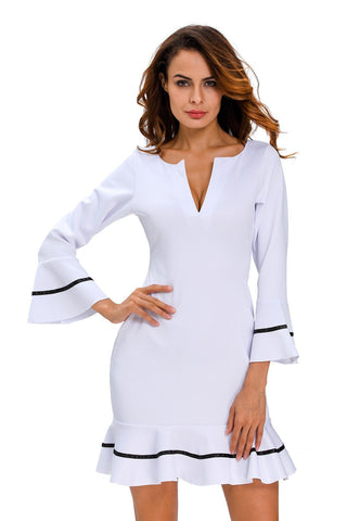 Elegant White Bell-Sleeve Nautical-Style Summer Ladies Dress S-L-Loluxe