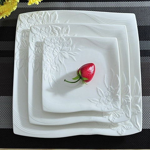 Elegant White Floral Stamped Ceramic Flat Dinner 3 PC Set-Loluxe