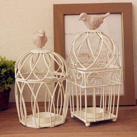 Elegant White Iron Birdcage Tea Light Candle Holders 3 Styles-Loluxe