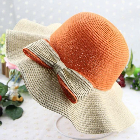 Elegant Wide-Brim Floppy Straw Big-Bow Ladies Hat 3 Colors-Loluxe