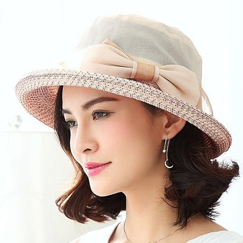 Elegant Women's Bowknot Adjustable Summer Straw Hat 3 Colors-Loluxe