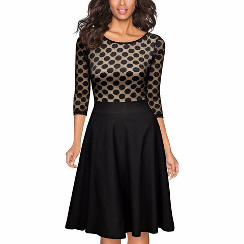 Elegant Women's Polka Dot Party Swing Dress S-2XL-Loluxe