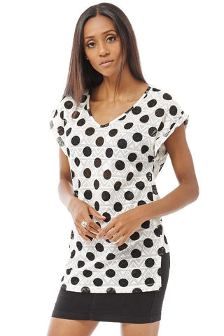 Elegant Women's Polka Dot T-Shirt S-L 2 Colors-Clothing > Tops-Loluxe