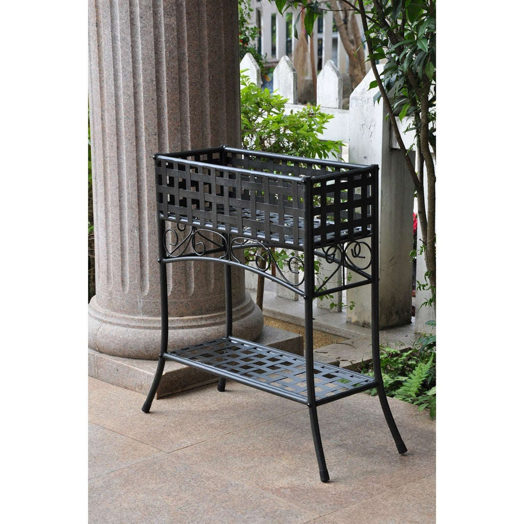 elevated rectangular metal planter stand in black wrought iron  -  elevated rectangular metal planter stand in black wrought ironoutdoor gardening  planters
