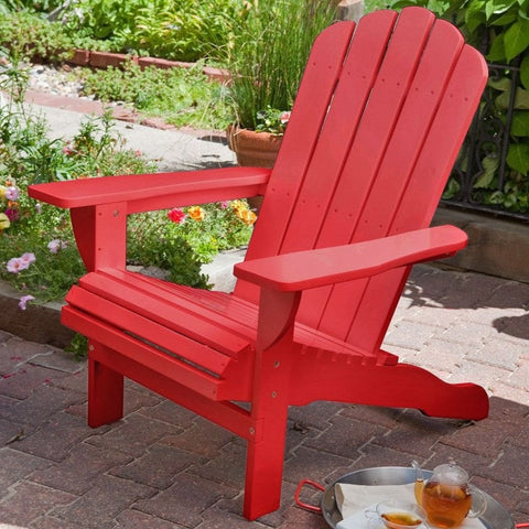 Environmentally Friendly Weather Resistant Eucalyptus Wood Adirondack Chair in Red-Outdoor > Outdoor Furniture > Adirondack Chairs-Loluxe