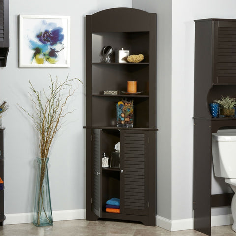 Espresso Bathroom Linen Tower Corner Towel Storage Cabinet with 3 Open Shelves-Bathroom > Bathroom Cabinets-Loluxe
