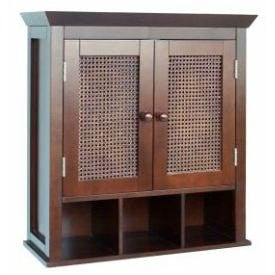 Espresso Hand-Woven Cane Panel 2-Door Wall-Hanging Bathroom Cabinet