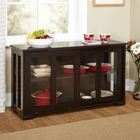 Espresso Sideboard Buffet Dining Kitchen Cabinet with 2 Glass Sliding Doors-Dining > Sideboards & Buffets-Loluxe