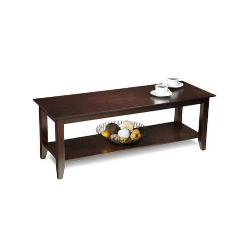 Espresso Wood Grain Coffee Table with Bottom Shelf-Living Room > Coffee Tables-Loluxe