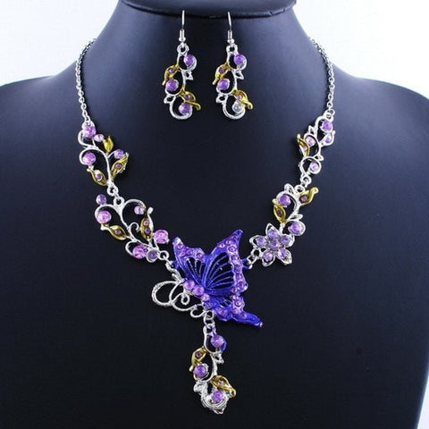 Ethnic Bridal Crystal Butterfly Flower Earring Necklace Jewelry Set-Loluxe