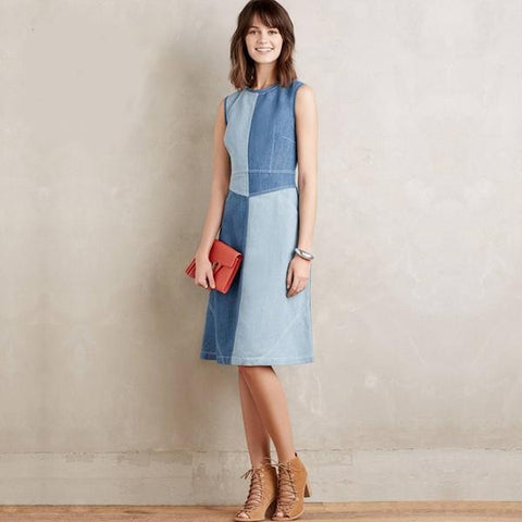 Euro-Style Denim Colorblock Casual Ladies Summer Dress S-2XL-Loluxe