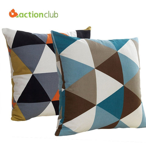 European Block Grid Geometric Pattern Decorative Fashion Throw Pillow Covers 2 Colors-Loluxe