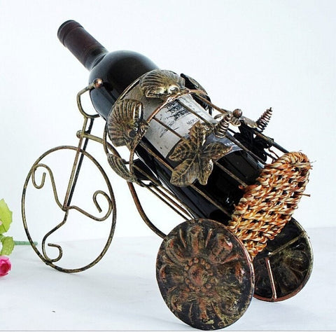 European Decorative Iron Antique Finish Wine Bottle Holder-Kitchen > Wine Racks and Coolers-Loluxe