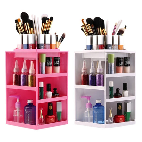Every Diva's Dream Come True! Large 360-Degree Rotating Makeup Organizer Display 2 Colors-Loluxe