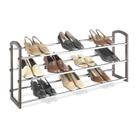 Expandable 3 Tier Shoe Rack in Faux Leather and Chrome-Accents > Shoe Racks-Loluxe