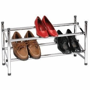 Expandable Two-Tier Shore Rack in Chrome-Accents > Shoe Racks-Loluxe