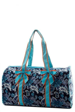 Extra Large Paisley Print Quilted Travel Duffle Bag-Loluxe