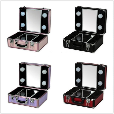 Fantabulous High Quality Portable Mirrored Makeup Case w Trays & Lights - 5 Colors-Loluxe