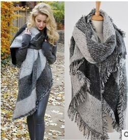 Fashion Color Paid Large Warm Designer Women's Scarf 3 Colors-Loluxe