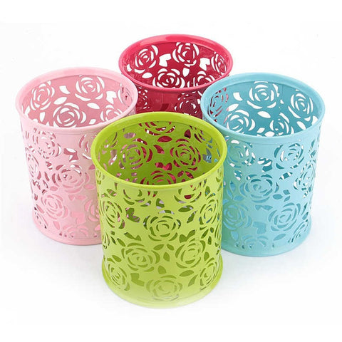 Fashion Colors Floral Cut-Out Organizer Cup Holder 4 Colors-Loluxe