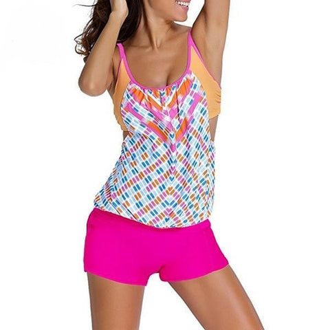 Fashion Design-Print Colorful Push-Up 2-PC Tankini S-3XL 3 Colors-Loluxe