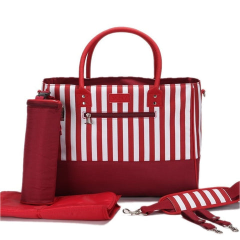Fashion Diva's Striped Multifunctional Waterproof Diaper Bag 4 Colors-Loluxe