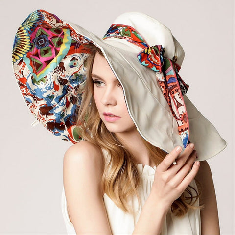 Fashion Floral Large Wide-Brim Foldable UV-Resistant Summer Beach Hat 5 Colors-Loluxe